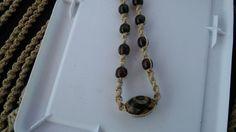 Tibetan DZI Warrior Protection Bead & Wood Hemp Necklace Boho Tribal Mystical #Handmade #Pendant