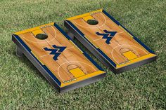 WVU Mountaineers  Basketball Cornhole Board Set - West Virginia Court Version - 29683