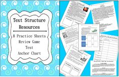 Awesome Common Core Text Structure resource Pack!  LOTS of Practice, Review Game, & Test!