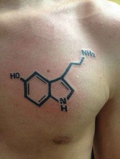 A Serotonin molecule. | 23 Incredibly Elegant Science Tattoos