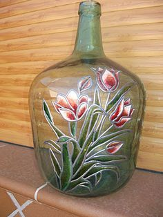 the cosicas of marimar: October 2011 Glass Bottle Crafts, Wine Bottle Art, Painted Wine Bottles, Painted Vases, Painted Wine Glasses, Bottles And Jars, Glass Bottles, Painting Glass Jars, Bottle Painting