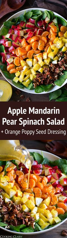 Apple Mandarin Orange Pear and Feta Spinach Salad with Orange Poppy Seed Dressing - Cooking Classy by terri Savory Salads, Healthy Salad Recipes, Lunch Recipes, Yummy Recipes, Clean Eating Recipes, Healthy Eating, Cooking Recipes, Orange Salad, Spinach Salad