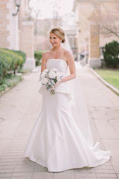 Classic chic strapless Birnbaum and Bullock wedding gown: http://www.stylemepretty.com/new-york-weddings/buffalo/2016/09/01/say-hello-to-the-peplum-dress-of-your-dreams/ Photography: Alexandra Meseke - http://alexandrameseke.com/