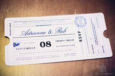 Blue Wedding invite designed with a travel theme/  Touchstone on Lake Muskoka Resort Wedding – Adrienne & Rob