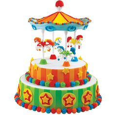 Our Carousel Cake Set turns a plain round cake into a colorful merry-go-round perfect for any birthday boy or girl! With fondant, it?s easy to decorate horses and trims in a rainbow of colors.