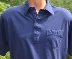 vintage 80s golf shirt navy blue polo plain pocket by skippyhaha