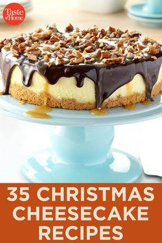 Christmas Cheesecake, Christmas Desserts, Christmas Baking, Holiday Baking, Banana Pudding Cheesecake, Cheesecake Cake, Cheesecake Squares, Baked Cheesecake Recipe, Cheesecake Bites