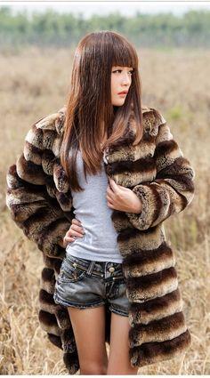 New Real 100% Rex Rabbit Fur Women Coat Jacket Overcoat Garment Clothes Clothing