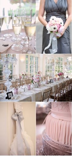 grey and pink wedding