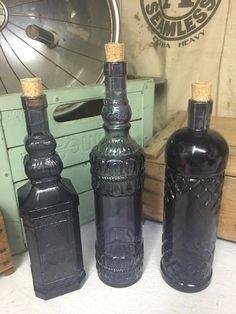 Vintage Set of 3 Purple Amethyst Blue Glass Bottles Sun Window Decor ~ Beautiful