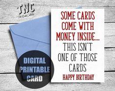 Funny Birthday Card Brother Printable Rude Sister Money Sarcastic Bi