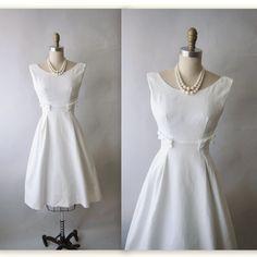1950s WEDDING GOWN  | dress vintage 1950 s white pique cotton emma domb casual wedding dress ...
