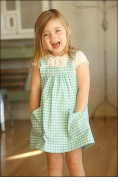 Pint-size Pinafore sewing pattern from Indygo Junction – IndygoJunction Kids Ca, 4 Kids, Pinafore Pattern, Dress Patterns, Sewing Patterns, Facon, Little Girl Dresses, Sewing For Kids, Toddler Fashion