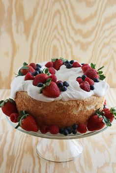 Angel Food Cake with Fresh Cream and Berries - A BEAUTIFUL MESS