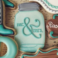 """171 Likes, 8 Comments - @sweettcakes on Instagram: """"Wedding favor cookies are right up there with baby shower cookies. Love the mason jar! #sweettcakes…"""""""