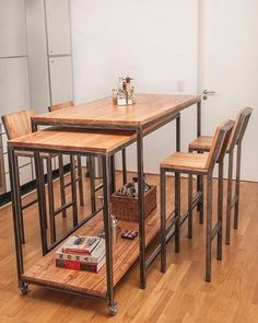 √ Best Kitchen Table Design Ideas for Your Amazing Kitchen Design Iron Furniture, Steel Furniture, Industrial Furniture, Rustic Furniture, Furniture Decor, Furniture Design, Corner Furniture, Smart Furniture, Furniture Showroom