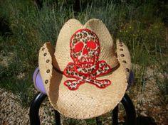 Handmade Custom Cowboy Hat  Leopard Skull by teamdiva on Etsy, $40.00