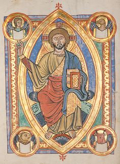 """Christ en majesté """"Majestas Domini """" - Codex Bruchsal (vers 1220) - C'est une des formes du Christ en gloire, représentant son corps complet assis sur un trône dans une mandorle. Il tient le livre des Saintes Écritures dans la main gauche et lève la main droite dans un geste d'enseignement codifié qui invite à la vie éternelle. Il s'agit d'une représentation eschatologique, à la fin des temps après le Jugement Dernier. Dans les angles sont représentés les symboles des quatre Évangélistes."""