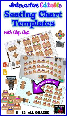 Interactive Seating Chart Templates with clip art. Two forms GOOGLE  slides and PowerPoint.  Customizable and FUN to use and great for flexible classrooms, too. All grades K - 12