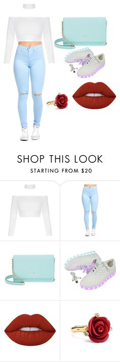 """LIGHTS OUT"" by flawless71603 ❤ liked on Polyvore featuring Kate Spade, Lime Crime and Oscar de la Renta"