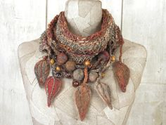 Knitting Loop Scarf : Knit necklace infinity scarf boho wool loop art by woollinen