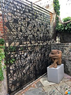 Laser cut garden screen - London - Scribble design by Miles and Lincoln. www.milesandlincoln.com Laser Cut Screens, Laser Cut Panels, Cut Garden, Garden Screening, Scribble, Landscape Architecture, Laser Cutting, Lincoln, Garden Sculpture