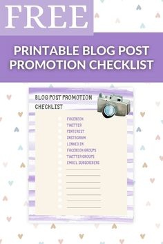This Free Printable Blog Post Promotion Checklist gives you a one stop place to check off that you have covered all of your promotion avenues, just check each one as you go and file away for your records, simple! Blog Post | Printable Planner | Blog Planner | Blog Binder | Blogging Binder | Blogging Planner | Blog Promotion Printable Planner, Free Printables, Simple Blog, Blog Planner, Binder, Promotion, Blogging, Check, Trapper Keeper