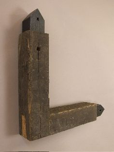 "Chris Bowman Right Angle Salvaged pine beam, birch ply, milk paint 2""x2""x5.25"""