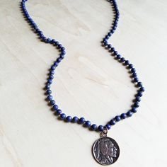 Frosted Lapis Knotted Necklace with Indian Head Coin 240f