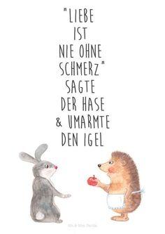 Kunstdruck mit Spruch über die Liebe, illustrierte Tiere / cute illustrated artprint, love quote made by Wild & Free via DaWanda.com
