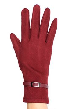 faux suede red texting gloves - valentines day gift