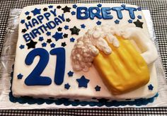 21st Birthday Cake with edible beer mug and fondant accents