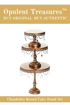 Chandelier Round Metal Cake Stand Set perfect for wedding, birthday, anniversary cakes and desserts for all your special celebrations! Dessert Stand, Dessert Tables, Chandelier Cake Stand, Metal Cake Stand, Anniversary Cakes, Plate Display, Round Cakes, Signature Design, Celebrations