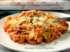 This classic Cottage Cheese Casserole can be made in your crockpot or Instant Pot for a filling healthy meal that is quick and budget friendly. Low Carb Dinner Recipes, Thm Recipes, Healthy Recipes, Healthy Food, Cooker Recipes, Pasta Recipes, Crockpot Recipes, Yummy Food, Skinny Recipes