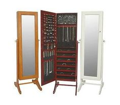 Gold & Silver Safekeeper Mirrored Jewelry Cabinet By Lori Greiner Box Standing