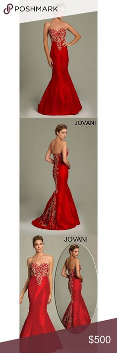 Red Jovani Prom dress style #77831 Mermaid style red Jovani prom dress. Has gold beading on the front and all the way down the back. Down have a train. Dress has been tailored to fit a person who is 5'4 with about 2-4 inch heels. Train was modified so it wouldn't drag so much. Sweetheart neckline. Straps were added as well but they can be unclipped. Dress is form fitting until it hits the knees. Some beading after being worn is a little loose along the bottom. Only worn once. ♥️Host Pick♥️…