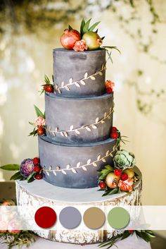 cranberry and gray fall wedding cakes for october wedding colors 2015