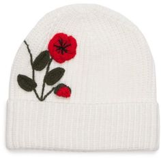 Kate Spade New York  Crochet Poppy Beanie ($58) ❤ liked on Polyvore featuring accessories, hats, crochet beanie, crochet beanie cap, beanie caps, beanie cap hat and beanie hat