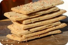 Crackers! Just made these...very easy and tasty...rolled sesame seeds into dough.