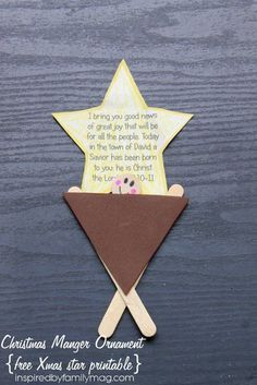 Christmas Manger -BOOK Inspired -ornament craft - with free Christmas star printable --Simple and cute!