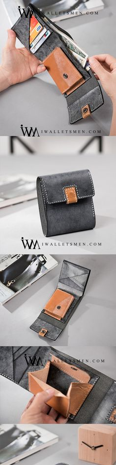 c0071b8c198e8 HANDMADE LEATHER MENS COOL SLIM LEATHER WALLET MEN SMALL WALLETS TRIFOLD  FOR MEN