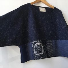 omiko Patchwork Crop, just posted. Batik Fashion, Fashion Sewing, Sewing Clothes, Diy Clothes, Jeans Recycling, Pullover Shirt, Japanese Fabric, Japanese Textiles, Slow Fashion