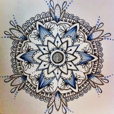 Mandala - zentangle, doodle, pen And ink Mandala Draw, Mandalas Drawing, Tattoo Henna, Mandala Tattoo, Zen Doodle, Doodle Art, Design Mandala, Zentangle Patterns, Zentangles