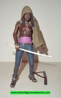 Todd McFarlane toys AMC's THE WALKING DEAD action figures 2013 series 3, MICHONNE 100% COMPLETE with all weapons, accessories, and parts condition: excellent - displayed only / collectable condition f