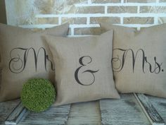 A perfect trio to give the bride & groom to be or for that anniversary gift. The Mr. & Mrs. pillows are 17 x 17 natural tan burlap with an