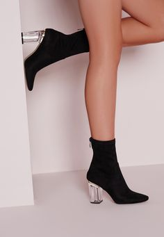 Missguided - Perspex Faux Suede Heel Ankle Boots Black
