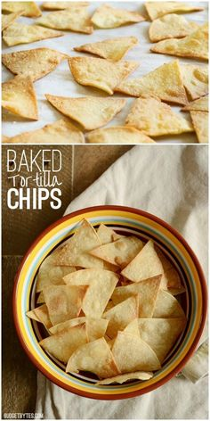 Baked tortilla chips are fast, easy, super crunchy, and an inexpensive alternative to store bought chips. Season lightly with salt or your favorite spices.