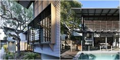 Corrugated iron cladded house with wood and amazing louvres and bushland