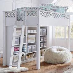 loft bed full white bookshelf - PBteen $1199