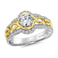 Diamond Engagement Ring Mounting in14K White/Yellow Gold (.40 ct. tw.)